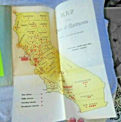 Vintage Map + Book Libraries Of California W/ Lovely Library Photos 1904 Rare