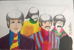 Beatles Original Watercolor By Animator Ron Campbell Signed + Bandw Beatles Photo