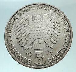 1974 F Germany 25 Years Of German Federal Constitution Law Silver 5 Mark I82424