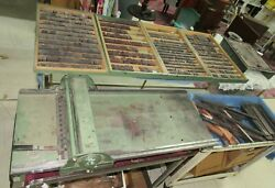 Antique Morgan Sign Line O Scribe Printing Press W/wood And Metal Letters 1950and039s