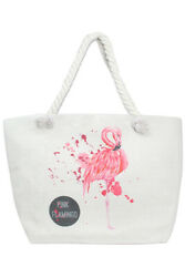 Jinscloset Women#x27;s Fashion Pink Flamingo Print Canvas Tote Beach Bag $13.99
