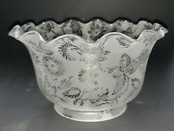 Antique Victorian Acid-etched Floral Pattern Upturned Gas Lamp Shade 4 Fitter