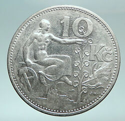1930 Czech Republic Woman And Lime Tree Old Genuine Silver 10 Korun Coin I82475