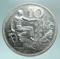 1932 Czech Republic Woman And Lime Tree Old Genuine Silver 10 Korun Coin I82479