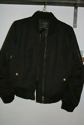 Women's Artsy Small Black Bomber Jacket By Love Tree With Painted Ferns On Back