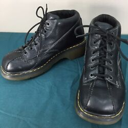 Used Dr Doc Martens 12281 Black Leather Flower Design Womens Boots US sz 10