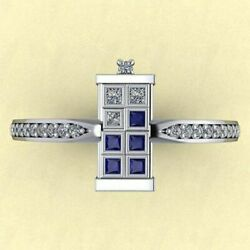 1.18Ct Classic Doctor Who Bling Tardis Diamond Wedding Ring 14K Solid White Gold