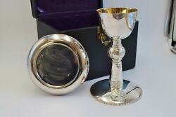 Gorham Celtic Chalice And Paten With Case + All Sterling Silver 8 3/4 Ht. Cu852