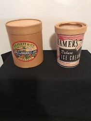 2 Vintage Cardboard Food Containers-apple Bramble Jam And Ice Cream