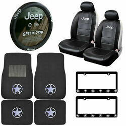 11pc Grille Logo Car Truck Suv Front Rear Carpet Floor Mats Seat Covers Fit Jeep