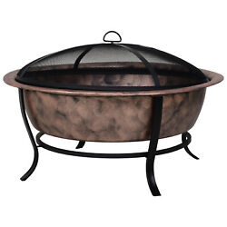 35 Steel Round Outdoor Patio Fire Pit Wood Log Burning Heater Poker, Mesh Cover