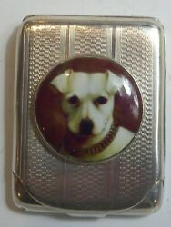 SILVER HALLMARKED MATCH HOLDER CASE WITH PICTORIAL ENAMEL OF TERRIER DOG