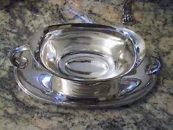 Hotel Style Silver Gravy Sauce Boat With Attached Under Tray Bowl Serving Tray