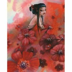 Diy Diamond Painting Red Flower Girl Beautiful Home Display 5d Embroidery Mosaic