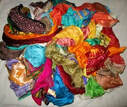 Lot Pure Silk Vintage Sari Remnant Fabric 50 To 500 Small Pieces Journal Sewing