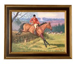 Original Signed Edward Tomasiewicz Steeplechase Painting Equestrian Hunt Scene