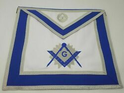Master Mason Leather And Satin Dress Embroidery Apron With Sliver Trim