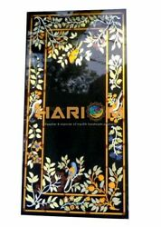 Black Marble Floral With Birds Art Semi Dining Table Top Inlaid Room Decor H5687