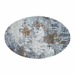 6and039x9and039 Oval Abstract Design Wool And Pure Silk Hand Knotted Oriental Rug R47799