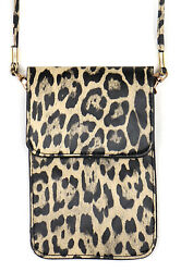 Jinscloset Leopard Design Cell Phone Case Crossbody With Clear Window Wallet