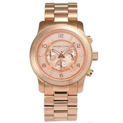 New Michael Kors MK8096 Analog Sport Runway Rose Gold Men's Gents Watch