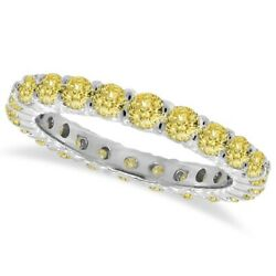 1.07ct Fancy Yellow Canary Round Diamond Eternity Ring Band 14k White Gold