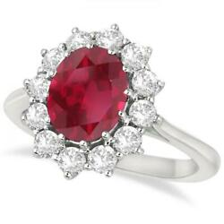 3.60ctw Princess Kate Oval Ruby And Diamond Statement Ring 14k White Gold