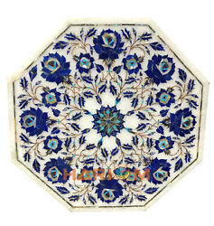 18'' Marble Coffee Table Top Home Decor Lapis Marquetry Gifts Inlay Arts W173