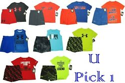 Under Armour Tee Shorts Set 2 pc Boys Outfit Athletic Sport Short Pants Shirt UA
