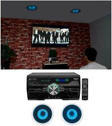 Technical Pro Dv4000 Home Theater Dvd Receiver+2 6.5 Blue Led Ceiling Speakers