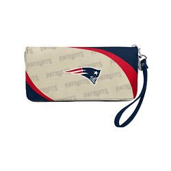 Nwt Nfl New England Patriots Women Synthetic Leather Curve Zip Organizer Wallet