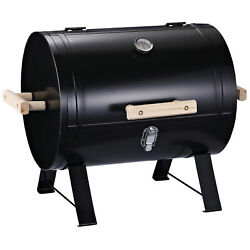 20 Outdoor Tabletop Bbq Charcoal Grill Metal Free-standing W/wooden Handle