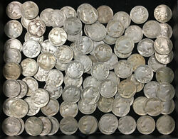 Large Lot Of 99 1938 D Indian Head Buffalo Nickels G/f