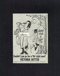Victoria Bitter Beer Ale From Australia Gone For A Vic Coundnt You Duel 1965 Ad