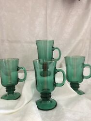 Vintage Libby Green Footed Mugs With Gold Trim
