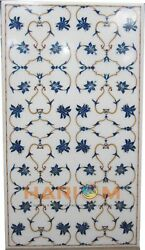 4'x2' Marble White Dining Collectible Top Table Inlay Fine Floral Art Decor W246
