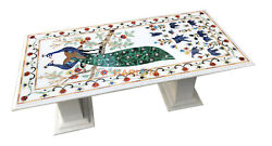 4and039x2and039 Marble Dining Table Top Peacock With 18and039and039 Stand Inlaid Kitchen Decor W081