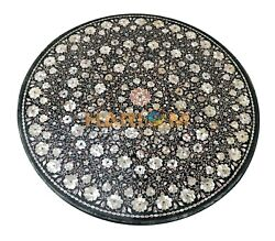 42 Marble Round Dining Table Top Mother Of Pearl Collectible Floral Inlay B187a
