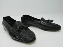 Vito Rufolo Menand039s Dress Black Woven Leather Tassel Loafers 10.5 Made In Italy