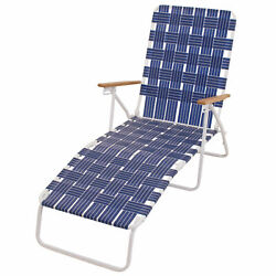 Rio Brands Outdoor Steel Folding Web Chaise Beach Lawn Pool Lounge Chair, Blue