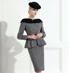 Custom Made To Order Houndstooth Party Casual Jacket Skirt Suit Plus 1x-10x Y393