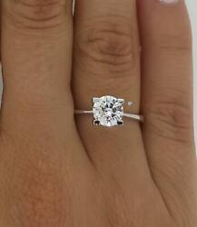 1.75 Ct 4 Prong Solitaire Round Cut Diamond Engagement Ring Si2 H White Gold 14k