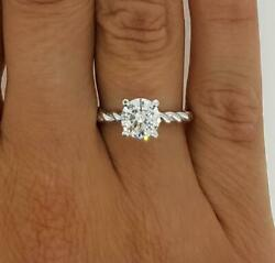 1.5 Ct Twist Rope Round Cut Diamond Solitaire Engagement Ring Si2 F White Gold