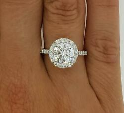 3.1 Ct Pave Halo Round Cut Diamond Engagement Ring Si1 D White Gold 18k