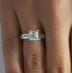 1 Ct Cathedral 4 Prong Princess Cut Diamond Engagement Ring Si2 H White Gold 14k