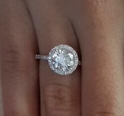 2.45 Ct Cathedral Pave Round Cut Diamond Engagement Ring Si2 D White Gold 14k