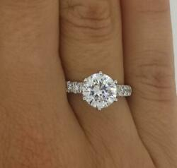 3.75 Ct Pave 6 Prong Round Cut Diamond Engagement Ring Si2 D White Gold 14k