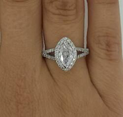 2.8 Ct Split Shank Halo Marquise Cut Diamond Engagement Ring Si2 G White Gold
