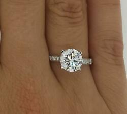 2 Ct 4 Prong Pave Round Cut Diamond Engagement Ring Si2 D White Gold 14k