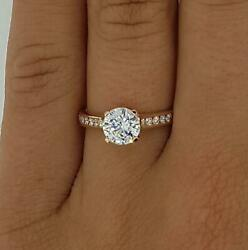 2 Ct Channel Set 4 Prong Round Cut Diamond Engagement Ring Si2 D Rose Gold 14k